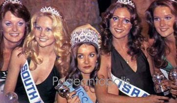 "Miss World 1974: Australia (3rd RU), South Africa (1st RU), United Kingdom (winner), Israel (2nd RU) & USA (4th RU). However, Helen Elizabeth Morgan, the titleholder, was discovered to be involved in a divorce case. The title ""Miss World"" went to Anneline Kriel of South Africa. Although Morgan was just the second Miss World winner who was resigned, it was the first time, the first runners up took over."