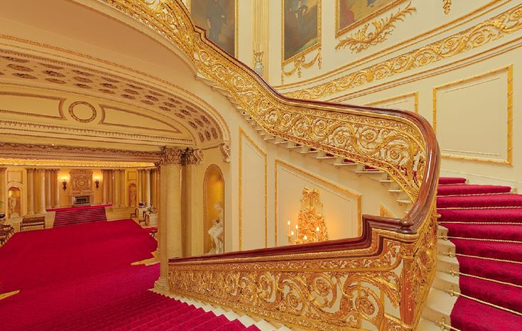 Buckingham Palace:  Another angle showing THE GRAND STAIRCASE – Designed by Nash for George IV. The great masterpiece in the Palace.