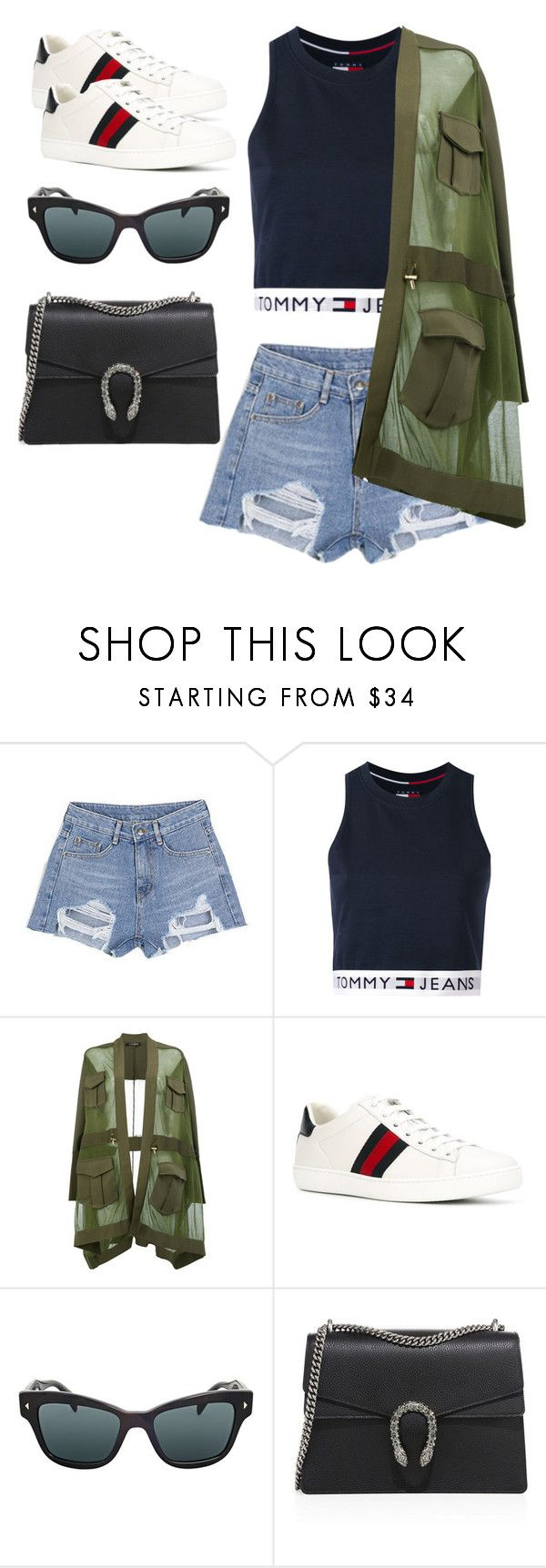 """""""Exit 2017"""" by dkfashion-658 on Polyvore featuring Chlo.D.Manon, Tommy Hilfiger, Balmain, Gucci and Prada"""