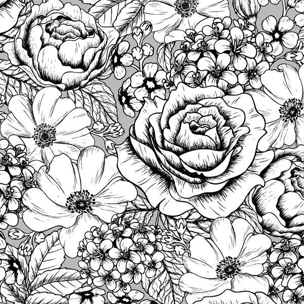 A Page Of Gorgeous Flowers From The Vintage Patterns Creative Colouring Book For Grown Ups Find This Pin And More
