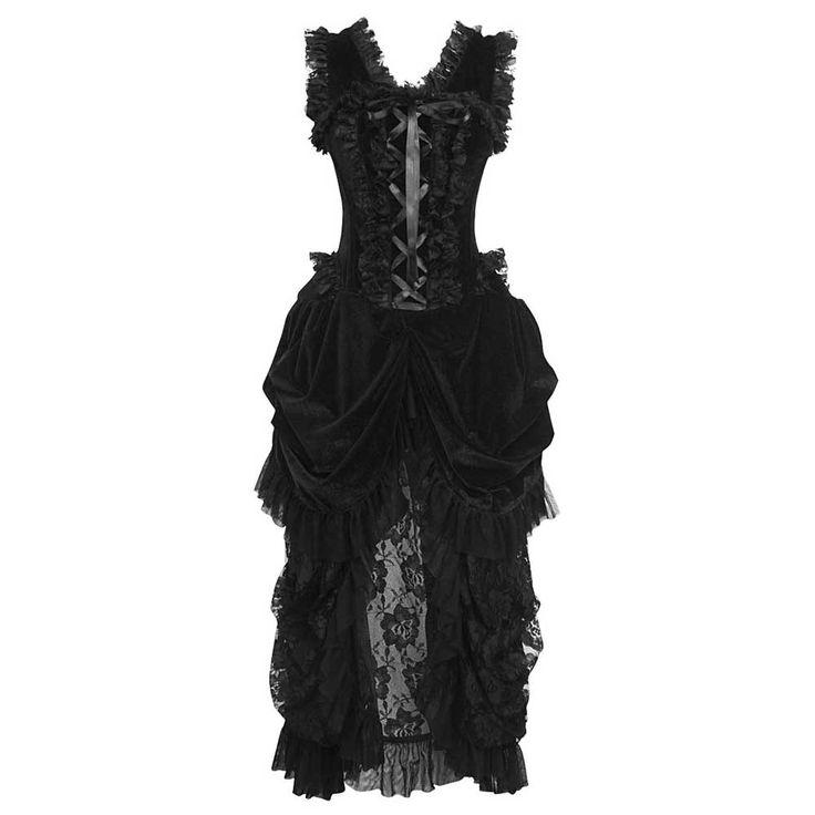 VG London Burlesque fluwelen korset jurk met gedrapeerde kanten rok zw