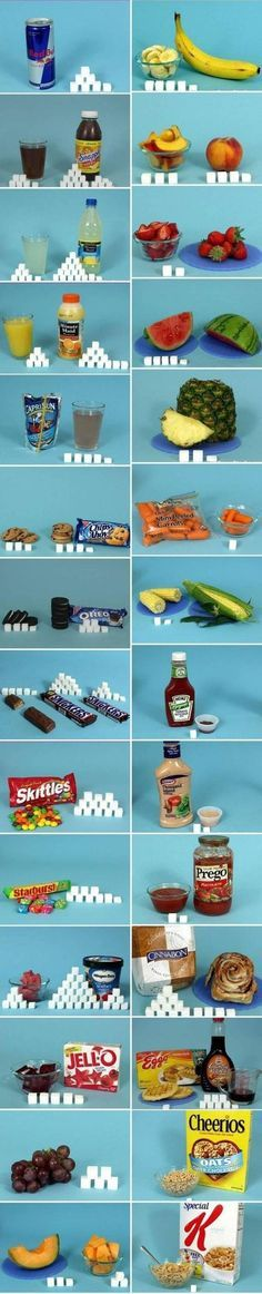 The amount of sugar in food expressed in sugar cubes. Is anyone else second guessing their food choices???