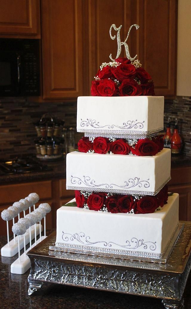 Square Tiered Wedding Cake with Roses & Babies Breath – Let them eat CAKE
