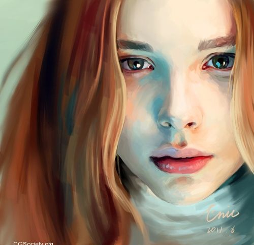 Digital Illustrations by Eric Zen. So realistic. I like the colors in the hair…