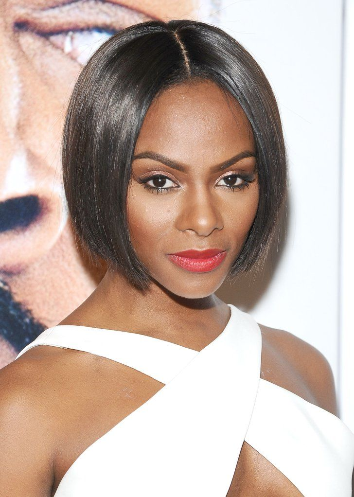 Pin for Later: Emma Stone and More Celebrities Are Loving Their Bobs! Tika Sumpter Tika Sumpter's middle-parted bob frames her oval face perfectly and hits right at chin level.