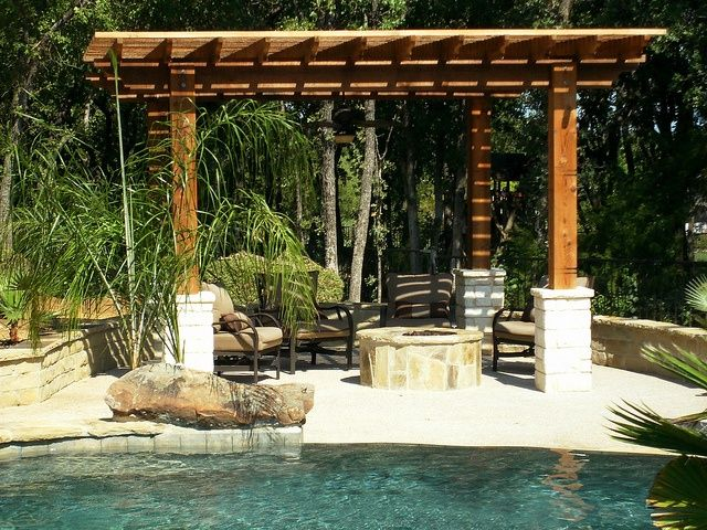 Pergola With Fire Pit Next To Pond Center Fire Pit Under
