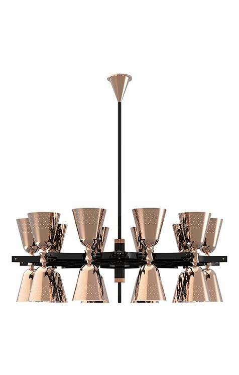 Charles chandelier is a handmade lighting fixture with a cooper plated body that will turn any living room, dining room or lobby in a royal setting. A unique lighting design that can cast light up or down with its black glossy lampshades.