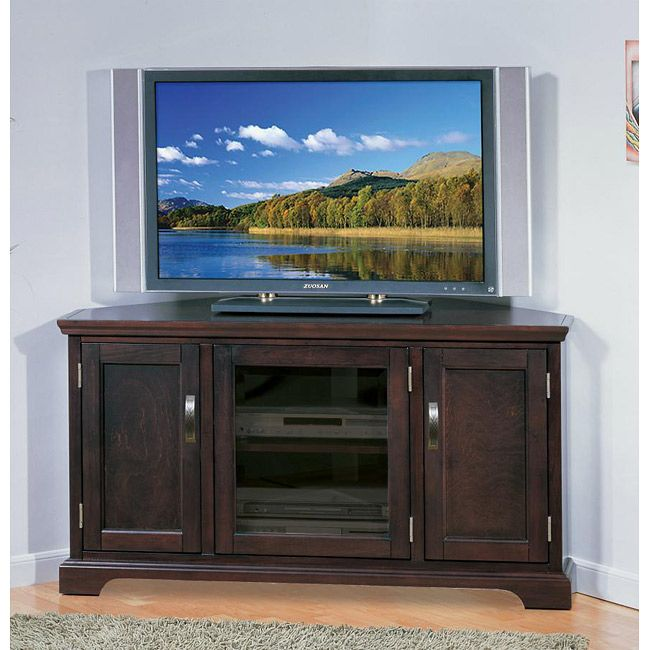 Corner TV Console With Storage   The Leick 81385 Riley Holliday Chocolate  46 In. Corner TV Console With Storage Is Constructed Of Hardwood Solids And  Oak ...