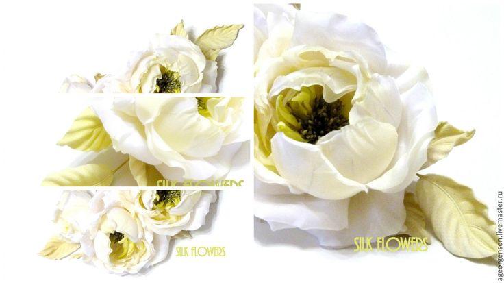 """Купить Украшение """"Светло-лимонные розы"""" - лимонный, цветы из шелка, шелковые розы, лимонная свадьба"""