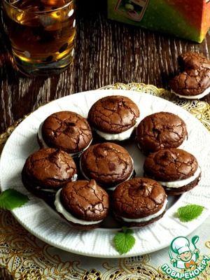 """Рецепт: Печенье """"Брауни"""" с творожной прослойкой"""