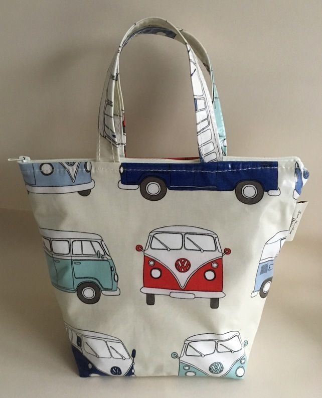 Insulated lunch bag, lunch bag, cool bag, Blue Camper van oilcloth £12.50