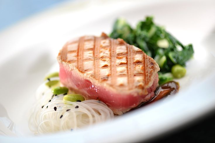 Yellowfin Tuna with Ponzu Glaze, Rice Noodles, Bok Choy and Soybeans from Disney's Cruise Line