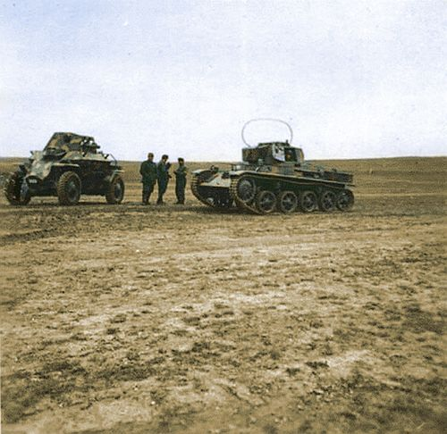 Toldi 2 with radio and Csaba M39 armored car commanders held talks in the field.