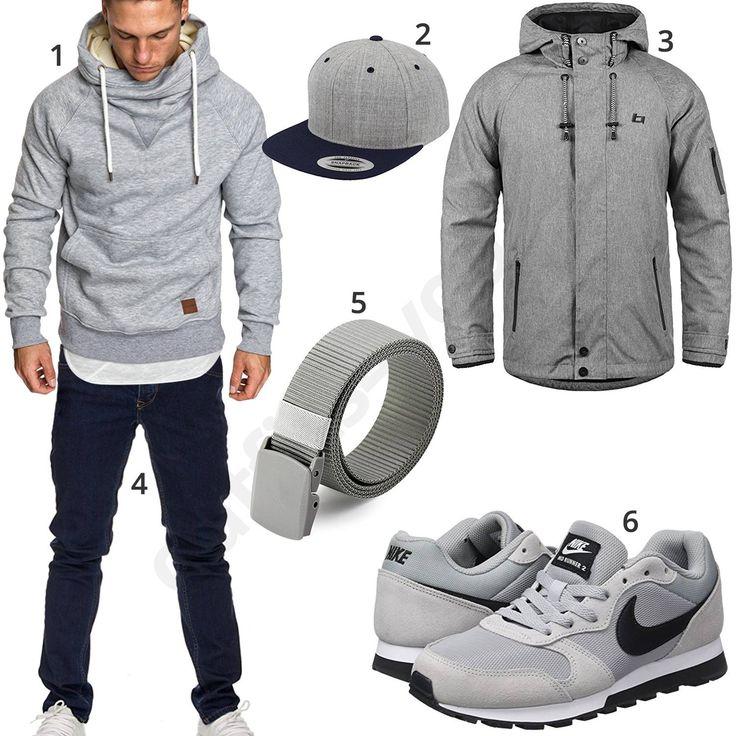 Blau-Graues Herrenoutfit mit Amaci&Sons Hoodie, Flexfit Cap, Blend  Winterjacke, grauem Stoffgürtel. High Fashion MenMens ...