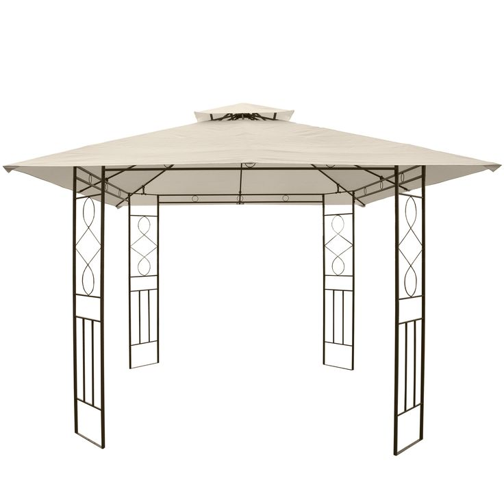 Pergola Montilla, Garten Pavillon Terrassenüberdachung, stabiles Stahl-Gestell, 3x3m