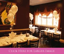 Communion Table Decorations, Photo Banner for Communion – Photos of Communion Luncheon held at a restaurant with Cross & Dove Balloon Centerpieces and God Bless Communion Photo Banner from settocelebrate