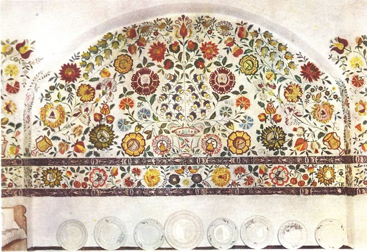 Slavic hand painted wall.