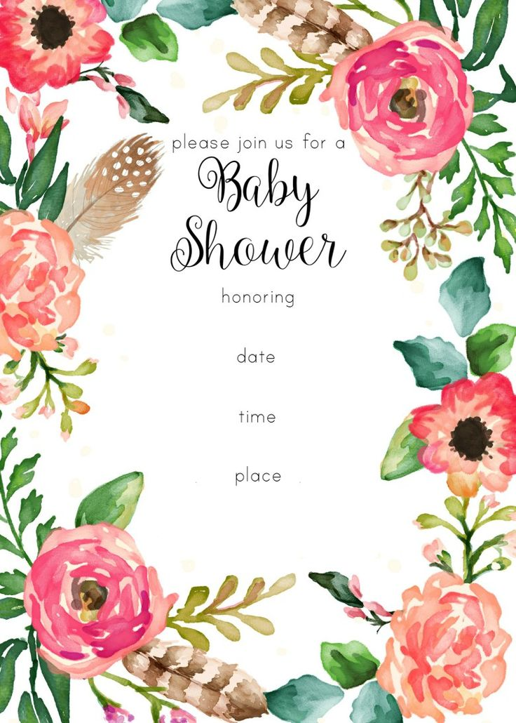 Free Printable Floral Shower Invitation  Baby Shower Invite Template Free