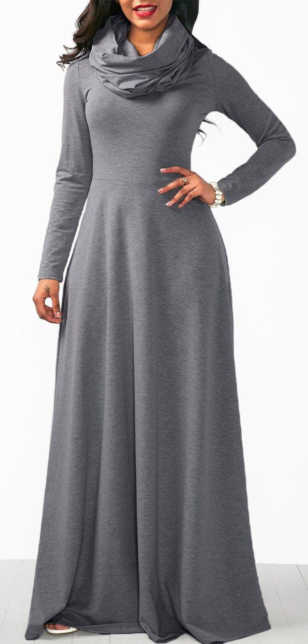 Grey long sleeve maxi dress. Kanyget fashions v+