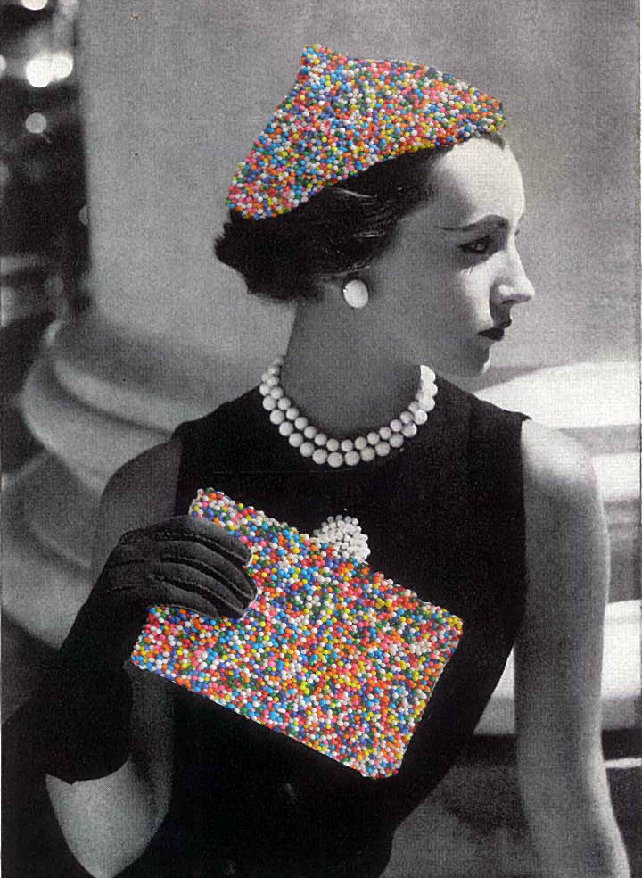 fashion, sprinkles, collage, vintage photography, pearls