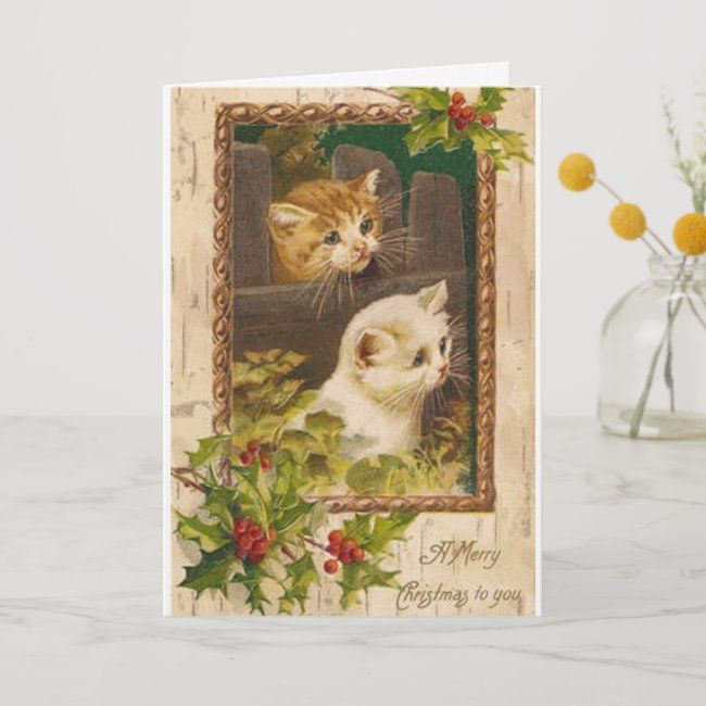 Vintage Christmas Cats Greeting Card Zazzle Com Cat Greeting Cards Vintage Christmas Cards Retro Christmas Cards