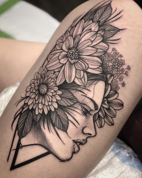 877c8bbe1 Black and Grey Floral and Portrait Tattoo by David Mushaney | Women ...