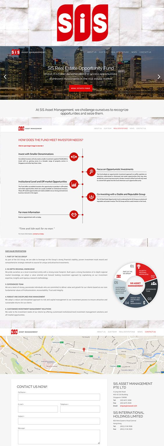 A website, complete with infographic design, for SiS Asset, an asset management company based in SEA. sisasset.com