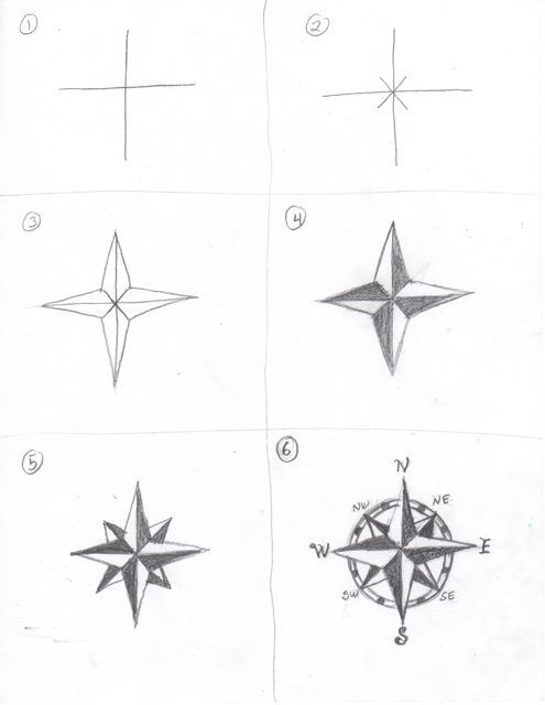 Here's how to draw a compass rose for your treasure map !