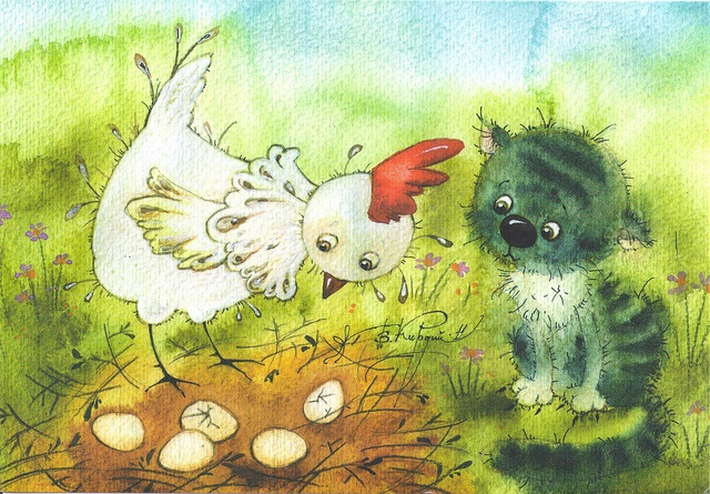 Victoria Kirdy Chicken & Kitten by Mailbox Happiness-Angee at Postcrossing, via Flickr