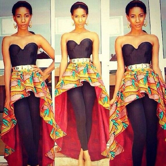 African Print High Low Peplum Belt Ankara By