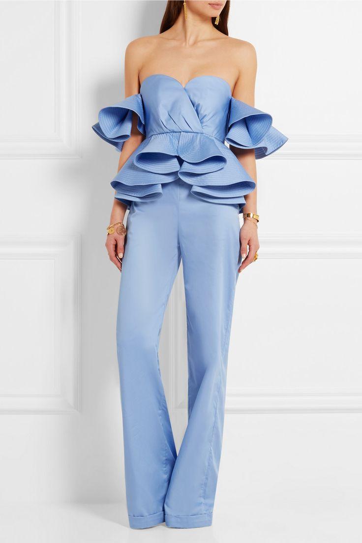 JOHANNA ORTIZ Azucena ruffled cotton-poplin jumpsuit