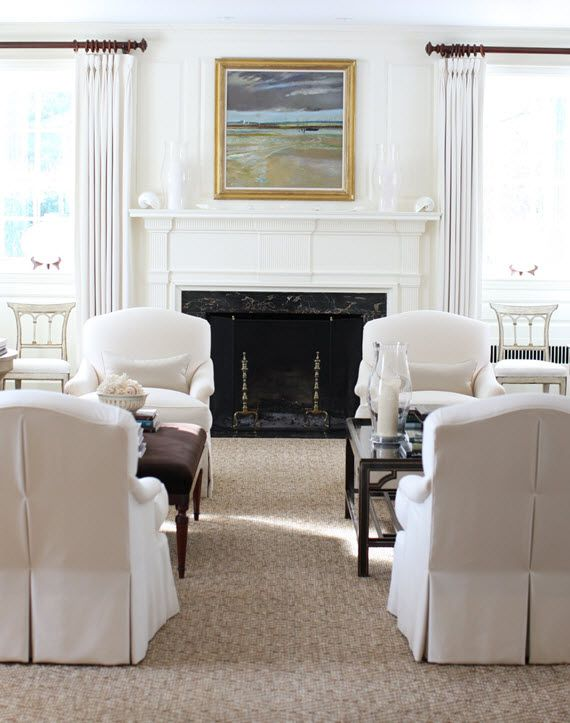 traditional living room // JK Kling--love the soothing setting of this living room. I would guess that two sofa's bookend these club chairs.
