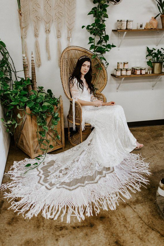 Belle bohemian wedding dress, boho wedding dress, art deco lace wedding dress, fringe wedding dress,