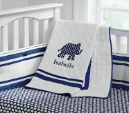 Harper Elephant Quilt, Navy: like the navy/white, even for girl -- very Mediterranean.