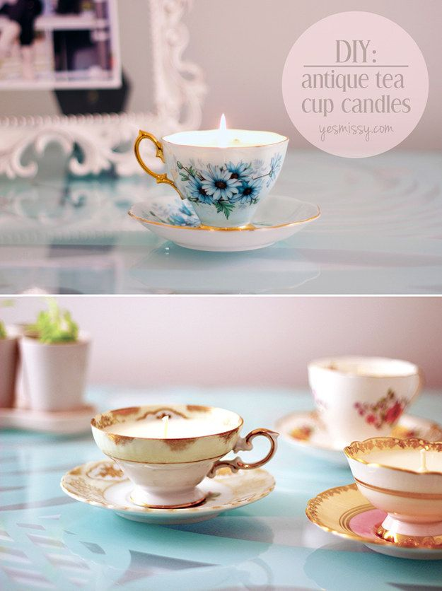 Candles are fantastic, but they are even better when they come in cute vintage tea cups.