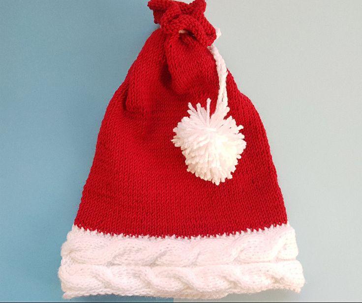 Hand knit Santa hat, Cable Santa beanie, Pom-Pom New Year hat, Red an white wool hat. by GrandmasOldBox on Etsy