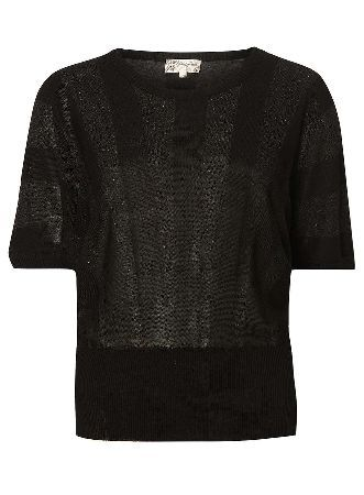 Dorothy Perkins Womens **Voulez Vous Black Metallic Batwing Top- Voulez vous black metallic striped top with round neck  short batwing sleeves. Wearing length is 61cm. 100% Polyester. Machine wash at maximum 40 degrees, wash with similar colours, dry flat, iron on http://www.MightGet.com/january-2017-13/dorothy-perkins-womens-voulez-vous-black-metallic-batwing-top-.asp