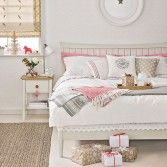 White and rose Christmas bedroom