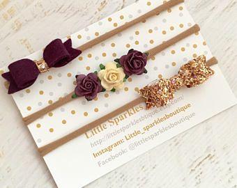 Baby bow, gold glitter bow, flower headband, purple hair bow, mulberry flower headband, baby/girl hair bow,wedding hair