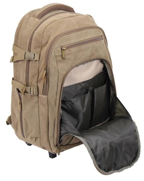 TRANSFORMABLE CANVAS ROLLING BACKPACK Perfect Bag For Travel or Everyday Use Made From Durable Cotton Canvas Material Push-Button Telescoping Aluminum Rod and W