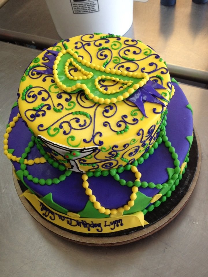 2 tiered Mardi Gras cake, designed by Sam Lucero, Blue Cake, Little Rock AR