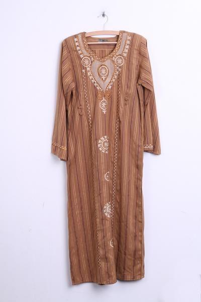 SAAD Womens M Hindu Long Dress Brown Striped - RetrospectClothes