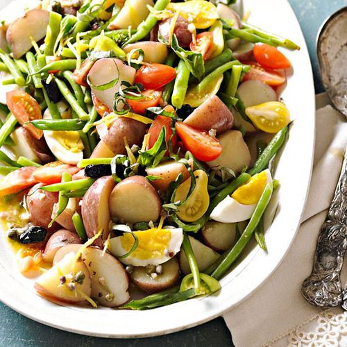 Sicilian Potato and Green Bean Salad:This garden-fresh potato salad is packed with veggies and basil.