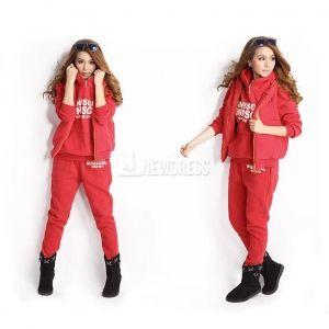 2014 New Fashion Women Autumn Stylish Hoodies Suit Thickening Sports Hoodie Hoody + Pant + Vest 3pcs