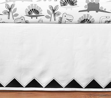Teagan Belgian Flax Linen Triangle Embroidered Crib Skirt