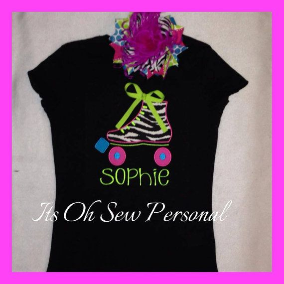 Roller skate shirt w/BOW by Itsohsewpersonal on Etsy, $42.00 www.itsohsewpersonal.com