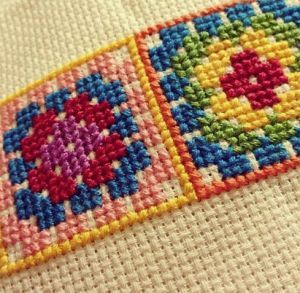 Free Hand Embroidery Pattern: Cross Stitch Granny Square Pattern - I Sew Free