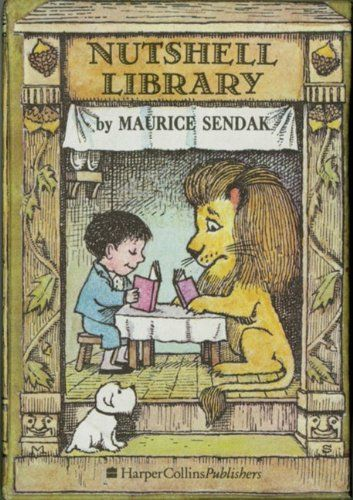 Nutshell Library (Caldecott Collection) by Maurice Sendak: This 4-volume boxed set contains an alphabet book, a book of rhymes about each month, a counting book, and a cautionary tale all written and illustrated by Maurice Sendak. Includes the titles Alligators All Around, Chicken Soup with Rice, One Was Johnny, and Pierre. #Books #Kids #Sendak