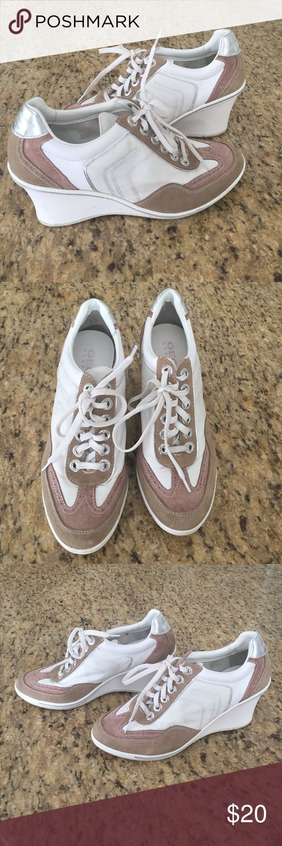 Wedge tennis shoes Stylish wedge tennis shoes white and tan and silver hardly worn Geox Shoes Sneakers