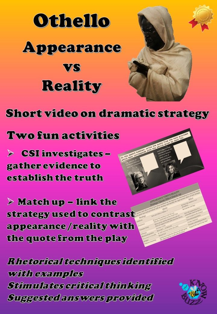 appearance versus reality othello essays An essay essays mba editing on othello that the olive essay van analysis gogh trees  appearance versus reality characters claudius appearancedeals swiftly.